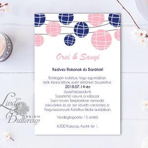 Esküvői meghívó, Nyári Esküvő, Lampionos meghívó, lampion, egyedi, romantikus, szines (LindaButtercup) - Meska.hu