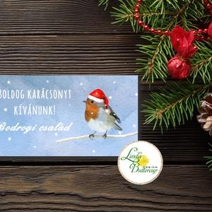Karácsonyi ajándék, Pénzátadó boríték, utalvány átadó, céges ajándék, pénz, képeslap, egyedi, személyre szóló, madár, hó, Otthon & Lakás, Boríték, Papír írószer, Fotó, grafika, rajz, illusztráció, Papírművészet, Meska