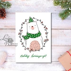 Macis Karácsonyi Képeslap, Adventi Képeslap, Karácsonyi,  Karácsonyi üdvözlőlap, Ünnepi képeslap, minimál,, Karácsonyi képeslap, Karácsony & Mikulás, Fotó, grafika, rajz, illusztráció, Mindenmás, A/6-os méretű Igényes Egyedi Karácsonyi képeslap, borítékkal.\n\nMás felirat is kérhető a lapra!\nVásár..., Meska