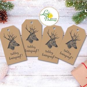 Vintage Karácsonyi Ajándékkísérő, újrahasznosított papír, Ünnepi kiskártya, ajándék, natúr, kraft, szarvas, agancs, Karácsonyi, adventi apróságok, Naptár, képeslap, album, Ajándékkísérő, képeslap, Ajándékkísérő, Fotó, grafika, rajz, illusztráció, Mindenmás, Vinateg stílusú kraft-natúr Ajándékkísérő kártya csomagra  1 CSOMAGBAN: 4db kártya van  * Mérete: 9..., Meska