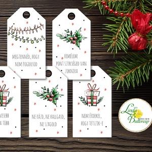 Vicces Karácsonyi Ajándékkísérő, Humoros kártya, szarkasztikus, Mikulás,  Ünnepi, ajándék, egyedi, személyre szóló, Karácsonyi dekoráció, Karácsony & Mikulás, Otthon & Lakás, Fotó, grafika, rajz, illusztráció, Mindenmás, Vicces-humoros Ajándékkísérő kártyák csomagra\n\n1 CSOMAGBAN: 5db kártya van\n\nHA SAJÁT EGYEDI SZÖVEGET..., Meska