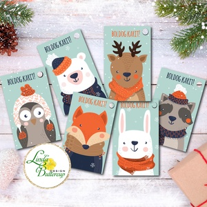 Állatos Karácsonyi Ajándékkísérő, erdei állat, Ünnepi kiskártya, ajándék, minimál design, szarvas, róka, maci, bagoly, Otthon & Lakás, Karácsonyi dekoráció, Karácsony & Mikulás, Ajándékkísérő kártya csomagra  1 CSOMAGBAN: 6db kártya van  * Mérete: 9.5x5.5cm * szalaggal kötve  2..., Meska