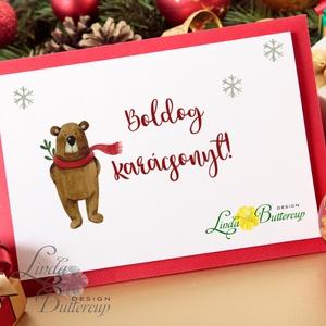Vintage Karácsonyi Kép, Adventi Képeslap, Karácsonyi,  Karácsonyi print, Ünnepi kép, személyre szóló, állatos, téli (LindaButtercup) - Meska.hu