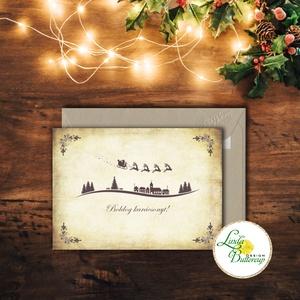 Vintage Karácsonyi Képeslap, Adventi Képeslap, Karácsonyi,  Karácsonyi üdvözlőlap, Ünnepi képeslap, szarvas, szán, santa, Karácsonyi képeslap, Karácsony & Mikulás, Fotó, grafika, rajz, illusztráció, Mindenmás, A/6-os méretű Igényes Vintage Karácsonyi képeslap, borítékkal.\n\nMás felirat is kérhető a lapra!\nVásá..., Meska
