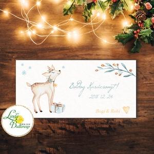 Karácsonyi ajándék, Pénzátadó boríték, utalvány átadó, céges ajándék, pénz, képeslap, személyre szóló, őz, szarvas, Karácsony, Ünnepi dekoráció, Dekoráció, Otthon & lakás, Ajándékkísérő, Naptár, képeslap, album, Ajándékkísérő, Fotó, grafika, rajz, illusztráció, Papírművészet, Igényes egyedi, személyre szóló Pénz-Átadó zsebes boríték szalaggal átkötve.\n\nA Szöveg változtatható..., Meska