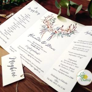 ÚJ ablak kinyithatós meghívó, Őszi Esküvői meghívó, Rusztikus meghívó, Bohém, Natúr meghívó, erdei, természet közeli (LindaButtercup) - Meska.hu