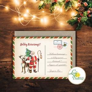 Vintage Karácsonyi Képeslap, Személyre szóló, egyedi, név, Karácsonyi üdvözlőlap, Ünnepi képeslap, posta, mikulás, régi, Dekoráció, Karácsonyi, adventi apróságok, Ünnepi dekoráció, Ajándékkísérő, képeslap, Fotó, grafika, rajz, illusztráció, Mindenmás, Igényes Egyedi Karácsonyi képeslap, borítékkal.  KIVITELEZÉS: 1 lapos 1 oldalas (NEM kinyitható) BO..., Meska