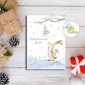 Karácsonyi Képeslap, Nyuszis, egyedi Képelap,s Karácsonyi, Karácsonyi üdvözlőlap, nyuszi, nyúl, állatos, névre szóló, Karácsony, Karácsonyi ajándékozás, Karácsonyi képeslap, üdvözlőlap, ajándékkísérő, Fotó, grafika, rajz, illusztráció, Mindenmás, Meska
