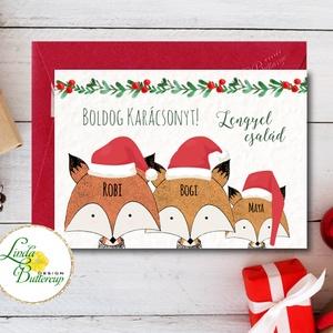 Karácsonyi képeslap, róka,róka család, rókás, Karácsonyi képeslap, személyre szóló, névre szóló, személyes, egyedi (LindaButtercup) - Meska.hu