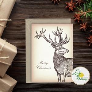 Karácsonyi Képeslap, vinatge, állatos, szarvas, agancs, szarvasos, régi, karácsonyi üdvözlőlap, ünnepi képeslap, , Karácsonyi képeslap, Karácsony & Mikulás, Fotó, grafika, rajz, illusztráció, Mindenmás, Igényes Egyedi Karácsonyi képeslap, borítékkal.\n\nKIVITELEZÉS:\nKinyithatós: beéül üres a saját, kézze..., Meska