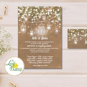Fehér Virágos Esküvői meghívó, Esküvő, falu, Vintage Esküvői lap, lámpás, zsákvászon, burlap, Rusztikus, Bohém,  (LindaButtercup) - Meska.hu