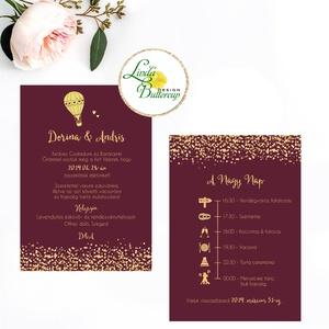 Esküvői meghívó, Esküvő,  egyedi Esküvői lap, Bordó, hőlégbalon, arany, csillámos, csillám, romantikus, vörös, elegáns (LindaButtercup) - Meska.hu