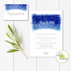 Esküvői meghívó, Esküvő, egyedi Esküvői lap, égbolt, csillagok, fehér, csillagos, égboltos, romantikus, kék, elegáns, ég, Meghívó, Meghívó & Kártya, Esküvő, Fotó, grafika, rajz, illusztráció, Papírművészet, Minőségi Esküvői  Meghívó\n\n* MEGHÍVÓ CSOMAG BORÍTÉKKAL:\n- 1.  Meghívó lap, egy oldalas: 10cm x 14cm\n..., Meska