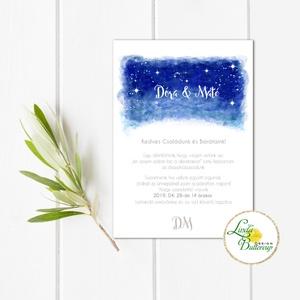 Esküvői meghívó, Esküvő, egyedi Esküvői lap, égbolt, csillagok, fehér, csillagos, égboltos, romantikus, kék, elegáns, ég, Meghívó, Meghívó & Kártya, Esküvő, Fotó, grafika, rajz, illusztráció, Papírművészet, Minőségi Esküvői  Meghívó\n\n* MEGHÍVÓ CSOMAG BORÍTÉKKAL:\n- Meghívó egy lap, egy oldalas: kb.: 14cm x ..., Meska