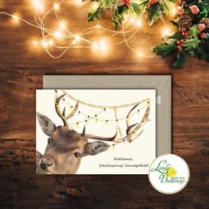 Karácsonyi Képeslap, vinatge, állatos, szarvas, agancs, szarvasos, régi, karácsonyi üdvözlőlap, ünnepi képeslap,  (LindaButtercup) - Meska.hu