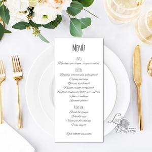 Egy lapos Menü, Itallap, Étlap, Vacsora, esküvői menüsor, minimál design , nyugalmas, békés, fehér, kaligrafikus, Menü, Meghívó & Kártya, Esküvő, Fotó, grafika, rajz, illusztráció, Papírművészet, Egy lapos egy oldalas Menü / Itallap\n\n* Egy oldalas nyomtatás : kb. 20.2cm x 9.2cm\n\n40db vásárlása f..., Meska