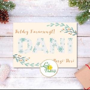 Karácsonyi Képeslap, névre szóló, személyre szóló, kék, sárga, régi, karácsonyi üdvözlőlap, ünnepi képeslap, klasszikus (LindaButtercup) - Meska.hu