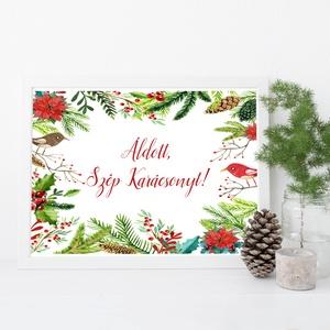 Vintage Karácsonyi Kép, Adventi Képeslap, Karácsonyi,  Karácsonyi print, Ünnepi kép, személyre szóló, madaras, fenyőág, Karácsonyi képeslap, Karácsony & Mikulás, Fotó, grafika, rajz, illusztráció, Mindenmás, A4es méretű Igényes Egyedi Karácsonyi print\n\nMás felirat is kérhető a lapra!\n\n250 gsm matt, művészpa..., Meska