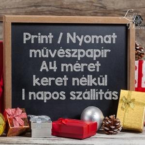 Vintage Karácsonyi Kép, Adventi Képeslap, Karácsonyi,  Karácsonyi print, Ünnepi kép, személyre szóló, madaras, fenyőág (LindaButtercup) - Meska.hu