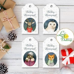 Állatos Karácsonyi Ajándékkísérő, erdei állat, Ünnepi kiskártya, ajándék, minimál design, szarvas, róka, maci, bagoly, Karácsonyi dekoráció, Karácsony & Mikulás, Otthon & Lakás, Fotó, grafika, rajz, illusztráció, Mindenmás, Vinateg stílusú kraft-natúr Ajándékkísérő kártya csomagra\n\n1 CSOMAGBAN: 4db kártya van\n\n* Mérete: 9...., Meska