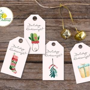 Karácsonyi Ajándékkísérő, vintage, Ünnepi kiskártya, ajándék, minimál design, kalligrafikus, rózsaszín, kesztyű, zokni, Karácsonyi képeslap, Karácsony & Mikulás, Otthon & Lakás, Fotó, grafika, rajz, illusztráció, Mindenmás, Vinatge stílusú natúr Ajándékkísérő kártya csomagra\n\n1 CSOMAGBAN: 4db kártya van\n\n* Mérete: 9.5x5.5c..., Meska