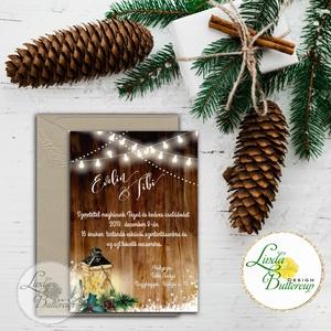 Téli Meghívó, Rusztikus esküvői meghívó, Vintage meghívó, lámpás, fenyő, toboz, karácsony, karácsonyi, tél, hó, havas, Mikulás, Karácsony & Mikulás, Otthon & Lakás, Fotó, grafika, rajz, illusztráció, Papírművészet, Minőségi Téli Esküvői Meghívó\n\n* MEGHÍVÓ CSOMAG BORÍTÉKKAL:\n- Meghívó egy lap, egy oldalas: kb.: 14c..., Meska