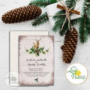 Téli Meghívó, Rusztikus esküvői meghívó, szarvas, őz, lámpás, fenyő, toboz, karácsony, karácsonyi, tél, hó, havas, fa, Dekoráció, Karácsonyi, adventi apróságok, Esküvő, Ünnepi dekoráció, Ajándékkísérő, képeslap, Meghívó, ültetőkártya, köszönőajándék, Fotó, grafika, rajz, illusztráció, Papírművészet, Minőségi Téli Esküvői Meghívó  * MEGHÍVÓ CSOMAG BORÍTÉKKAL: - Meghívó egy lap, egy oldalas: kb.: 14