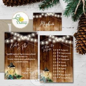 Téli Meghívó, Rusztikus esküvői meghívó, Vintage meghívó, lámpás, fenyő, toboz, karácsony, karácsonyi, tél, hó, havas, Mikulás, Karácsony & Mikulás, Otthon & Lakás, Fotó, grafika, rajz, illusztráció, Papírművészet, Minőségi Téli Esküvői Meghívó\n\n* MEGHÍVÓ CSOMAG BORÍTÉKKAL:\n- 1. -Meghívó lap, egy oldalas: kb.: 9.5..., Meska