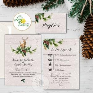 Téli Meghívó, Rusztikus esküvői meghívó, szarvas, őz, lámpás, fenyő, toboz, karácsony, karácsonyi, tél, hó, havas, fa, Meghívó, Papír írószer, Otthon & Lakás, Fotó, grafika, rajz, illusztráció, Papírművészet, Minőségi Téli Esküvői Meghívó\n\n* MEGHÍVÓ CSOMAG BORÍTÉKKAL:\n- 1. -Meghívó lap, egy oldalas: kb.: 9.5..., Meska