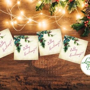 Karácsonyi Ajándékkísérő, vintage, Ünnepi kiskártya, ajándék, minimál design, kalligrafikus, rózsaszín, kesztyű, zokni, Karácsony, Karácsonyi ajándékozás, Karácsonyi képeslap, üdvözlőlap, ajándékkísérő, Fotó, grafika, rajz, illusztráció, Mindenmás, Meska