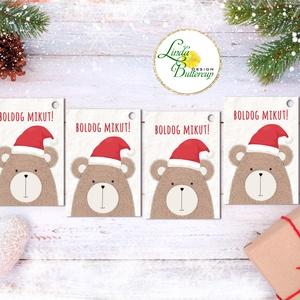 Mikulásos Ajándékkísérő, állatos, erdei állat, Ünnepi kiskártya, ajándék, minimál design, maci, medve, mikulás, miku, Mikulás, Karácsony & Mikulás, Otthon & Lakás, Fotó, grafika, rajz, illusztráció, Mindenmás, Ajándékkísérő kártyák csomagra\n\n1 CSOMAGBAN: 4db kártya van\n\n* Mérete: kb. 9.5x5.5cm\n* szalaggal köt..., Meska