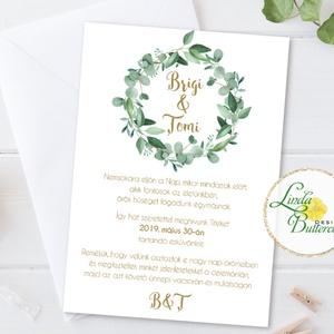 Levélkoszorú Meghívó, Greenrey, Bohó Esküvői meghívó, eukaliptusz, zöld leveles, levél, natúr meghívó, természetközeli, Esküvő, Meghívó, Meghívó & Kártya, Minőségi  Esküvői  Meghívó  * MEGHÍVÓ CSOMAG BORÍTÉKKAL: - Meghívó egy lap, egy oldalas: kb.: 14cm x..., Meska