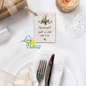 Köszönet kártya, ajándékkísérő, köszönet ajándék, esküvői kísérőkártya, köszönet lap, teli, rusztikus, szarvas, oz (LindaButtercup) - Meska.hu