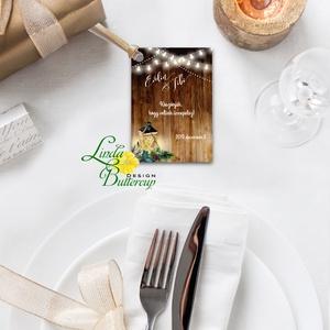 Köszönet kártya, ajándékkísérő, köszönet ajándék, esküvői kísérőkártya, teli, rusztikus, vintage, lámpás, fenyő, toboz, Esküvő, Köszönőajándék, Emlék & Ajándék, Igényes köszönetkártya, ajándékkísérő lyukasztva szalaggal kötve  * MÉRETE: kb: 5.4 x 8 cm Más méret..., Meska