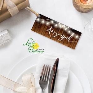 Köszönet kártya, ajándékkísérő, köszönet ajándék, esküvői kísérőkártya, teli, rusztikus, vintage, lámpás, fenyő, toboz (LindaButtercup) - Meska.hu