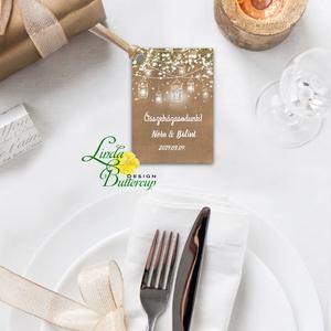 Köszönet kártya, ajándékkísérő, köszönet ajándék, esküvői kísérőkártya, fehér, virágos, falu, vintage, lámpás (LindaButtercup) - Meska.hu