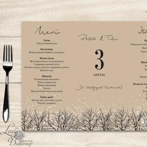 Esküvői Menü, menüsor, itallap, téli, rusztikus, szarvas, őz, lámpás, fenyő, toboz, karácsony, karácsonyi, tél, hó, Esküvő, Menü, Meghívó & Kártya, Esküvői Virágos Álló Háromszög Menü Szalaggal  Esküvői Menükártya Álló 3szög forma, 1 oldal: 20x9,5c..., Meska