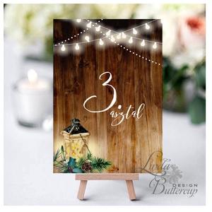Asztalszám kártya, Ültetési rend, Dekoráció, kellék, téli, rusztikus, szarvas, őz, lámpás, fenyő, toboz, karácsony, Esküvő, Ültetési rend, Meghívó & Kártya, Fotó, grafika, rajz, illusztráció, Papírművészet, Meska