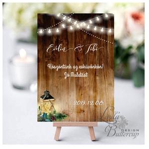 Esküvői Felirat A4, Menü, Itallap, Esküvő Dekor, Esküvői felirat, téli, rusztikus, szarvas, őz, lámpás, fenyő, toboz, Esküvő, Fotó, grafika, rajz, illusztráció, Papírművészet, Meska