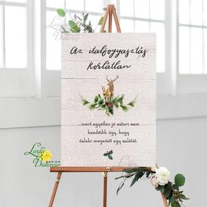 Esküvői Poszter A3, Esküvői kép, Esküvő Dekor, Esküvői felirat, téli, rusztikus, szarvas, őz, lámpás, fenyő, toboz (LindaButtercup) - Meska.hu