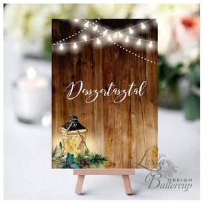Esküvői felirat, Dekoráció, asztalszám, desszert asztal, Esküvői lap, téli, rusztikus, szarvas, őz, lámpás, fenyő, toboz (LindaButtercup) - Meska.hu