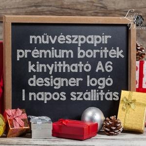 Autós Karácsonyi Képeslap, Retro, auto, bogár, fenyő, adventi Kártya, Vintage Karácsonyi üdvözlőlap, Vintage, fenyőfa (LindaButtercup) - Meska.hu