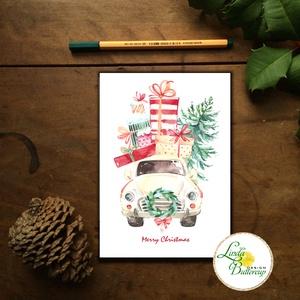 Autós Karácsonyi Képeslap, Retro, auto, bogár, fenyő, adventi Kártya, Vintage Karácsonyi üdvözlőlap, Vintage, fenyőfa, Karácsonyi képeslap, Karácsony & Mikulás, Otthon & Lakás, Fotó, grafika, rajz, illusztráció, Mindenmás, A/6-os méretű Igényes kinyitható Egyedi Karácsonyi képeslap, borítékkal.\n\nKinyitható, belül üres saj..., Meska