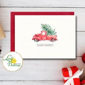 Autós Karácsonyi Képeslap, Retro, piros auto, bogár, fenyő, adventi Kártya, Karácsonyi üdvözlőlap, Vintage, fenyőfa, Karácsonyi képeslap, Karácsony & Mikulás, Otthon & Lakás, Fotó, grafika, rajz, illusztráció, Mindenmás, A/6-os méretű Igényes kinyitható Egyedi Karácsonyi képeslap, borítékkal.\n\nKinyitható, belül üres saj..., Meska