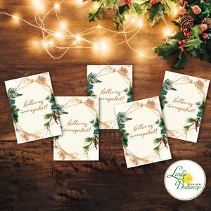 Karácsonyi Ajándékkísérő, vintage, Ünnepi kiskártya, ajándék, minimál design, kalligrafikus, rózsaszín, kesztyű, zokni (LindaButtercup) - Meska.hu