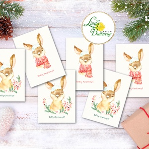 Állatos Karácsonyi Ajándékkísérő, nyuszis, nyuszi, nyúl, erdei állat, Ünnepi kiskártya, ajándék, minimál design (LindaButtercup) - Meska.hu