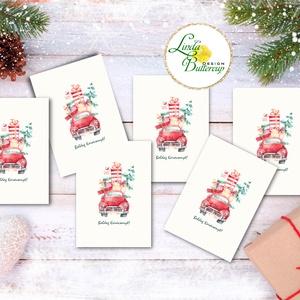 Autós Karácsonyi Ajándékkísérő, autó, auto, bogár, piros auto, fenyőfa, Ünnepi kiskártya, ajándék, minimál design, Karácsonyi képeslap, Karácsony & Mikulás, Otthon & Lakás, Fotó, grafika, rajz, illusztráció, Mindenmás, Ajándékkísérő kártya csomagra\n\n1 CSOMAGBAN: 6db kártya van\n\n* Mérete: 9.5x5.5cm\n* szalaggal kötve\n\n2..., Meska
