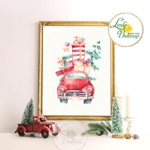 Autós kép, Retro, piros auto, bogár, Vintage kép, Print,  karácsonyi kép, dekoráció, dekor, falikép, Otthon & Lakás, Kép & Falikép, Dekoráció, Fotó, grafika, rajz, illusztráció, Mindenmás, Meska