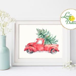 Autós kép, Retro, piros auto, bogár, Vintage kép, Print,  karácsonyi kép, dekoráció, dekor, falikép, Kép & Falikép, Dekoráció, Otthon & Lakás, Fotó, grafika, rajz, illusztráció, Mindenmás, A4-es Minőségi Print Lap, Nyomtatás\n\n* KERET NÉLKÜL! *\n\n* MÉRET: A4\n\n* ANYAG: \n250g-os kiváló minősé..., Meska