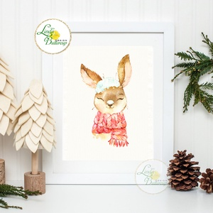 Nyuszis Karácsonyi Kép, Karácsonyi, print, Ünnepi kép, személyre szóló, állatos, téli, nyuszi, nyúl, hó (LindaButtercup) - Meska.hu